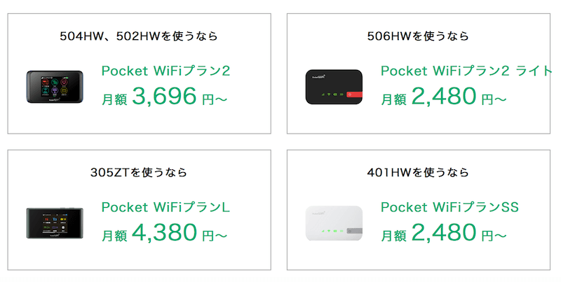 Y!mobile(ワイモバイル)のポケットWiFiの料金プラン