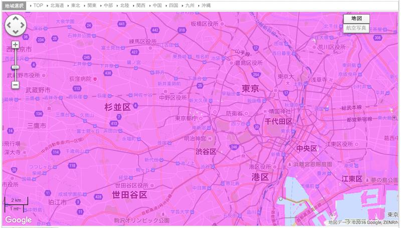 WiMAXのエリアを東京で調べた事例